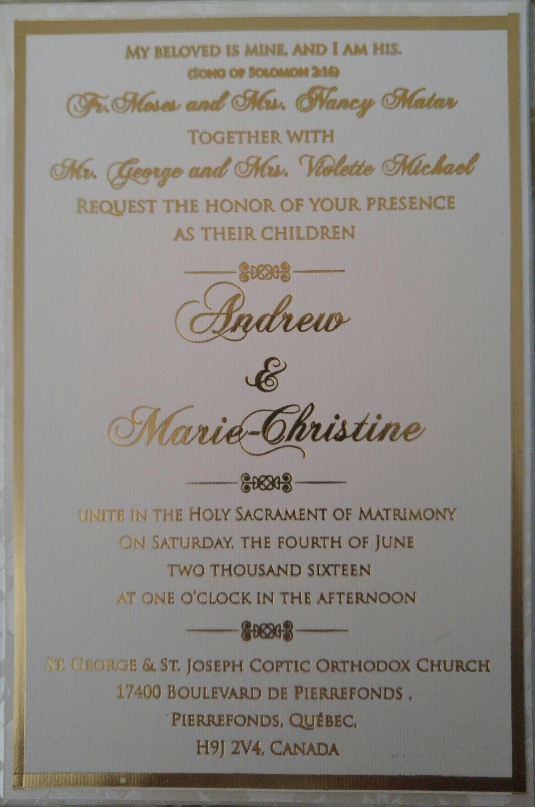 Andrew Mattar Wedding Invite